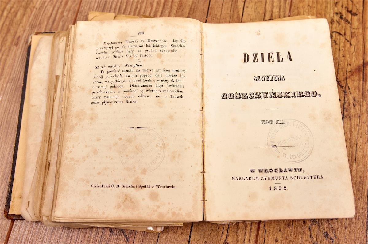 """""""Dzieła"""" Seweryna Goszczyńskiego wydane w 1852 roku w Warszawie"""